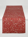 Dermond Peterson Words for Red Table Runner on Natural Linen
