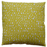 Dermond Peterson Words for Yellow Pillow on Natural Linen