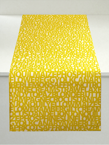 Dermond Peterson Words for Yellow Table Runner