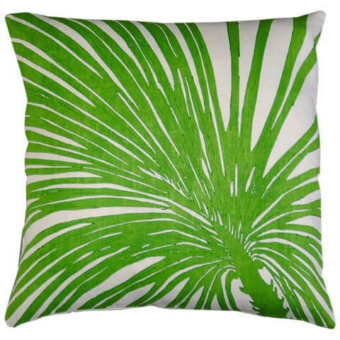 Dermond Peterson Palm Zoom Pillow in Tropical Green on White Linen