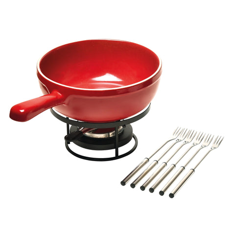 Emile Henry Cheese Fondue Set 24cm Grand Cru (Burgundy)