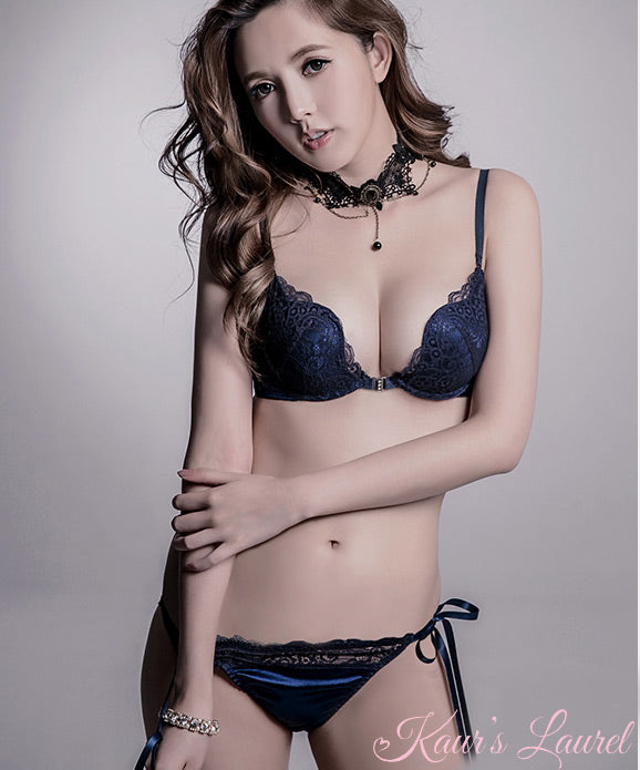 Edith Front Closure Bra in Navy