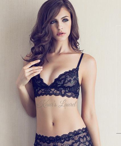 Bralettes like this Miranda black lace bralet encompass a range of 3 bra sister sizes