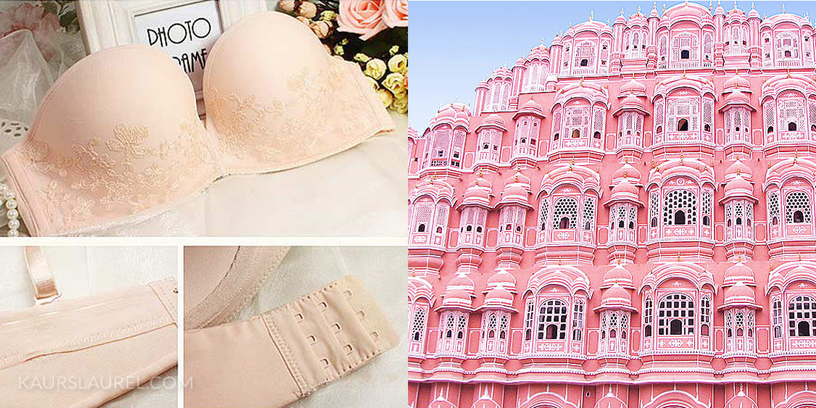 Anais Balconette Bra and Brief Set in Champagne || Pink Palace in Jaipur, India