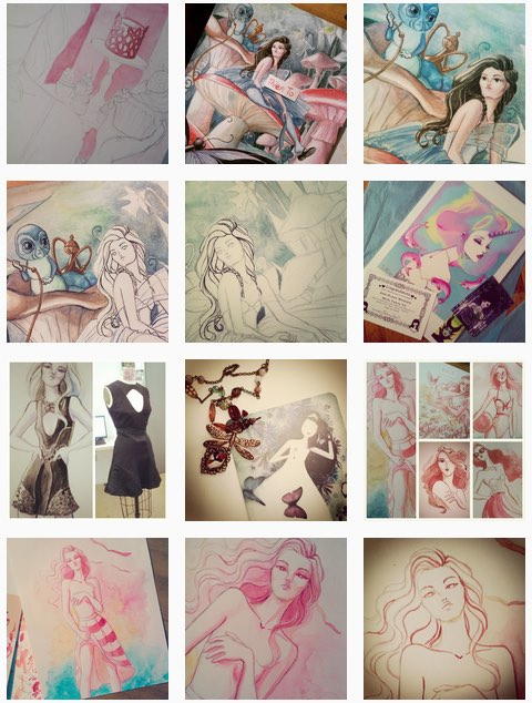 Stunning watercolor, pastel sketches featuring feminine themes by Thien To