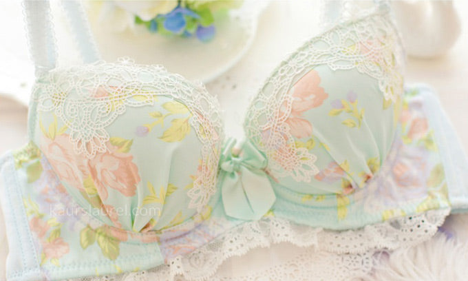Japanese lingerie frequently incorporates floral patterns and super girly bows and lace trims