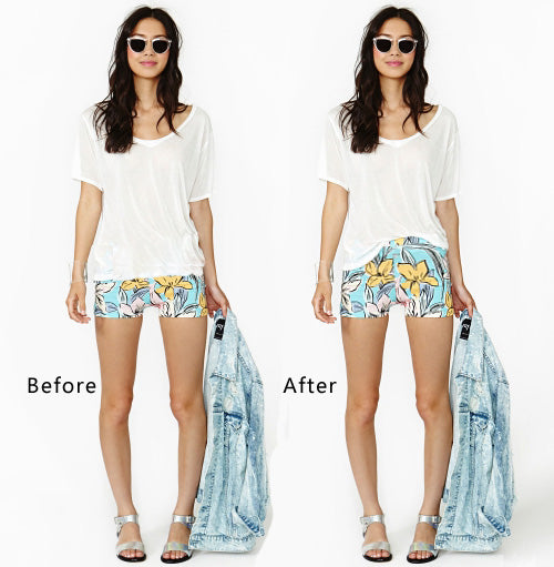 Simply tucking in the shirt will make the waist appear higher and your legs therefore longer