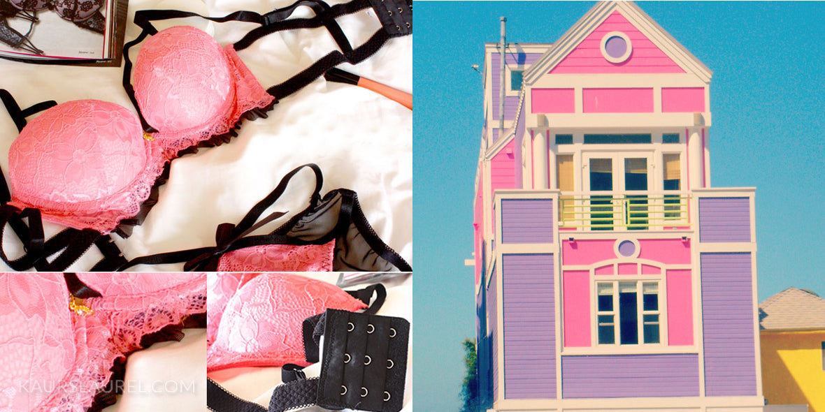 Nicole bright pink bra and panties || Barbie House in Malibu