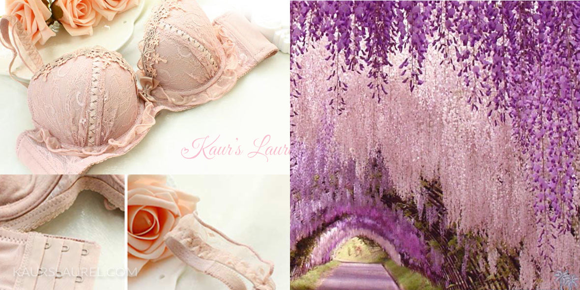 Holly bra set in mauve || Wisteria violet tunnel in japan