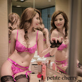 Dulce Eyelash Lace Unlined Transparent Lingerie Set (Fuchsia) - Petite Cherry  - 2
