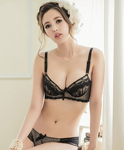 Florence Chiffon & Lace Push Up Bustier Bra Set (Black) - Petite Cherry  - 1