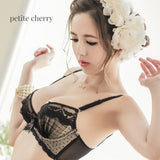 Florence Chiffon & Lace Push Up Bustier Bra Set (Black) - Petite Cherry  - 4