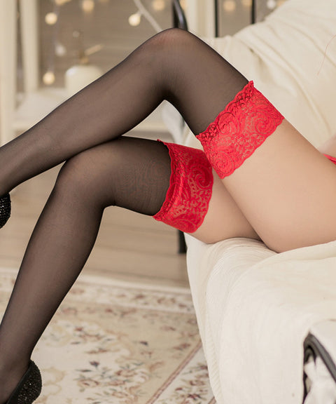 BONUS Gift: Red Lace-Top Stockings - Petite Cherry  - 1