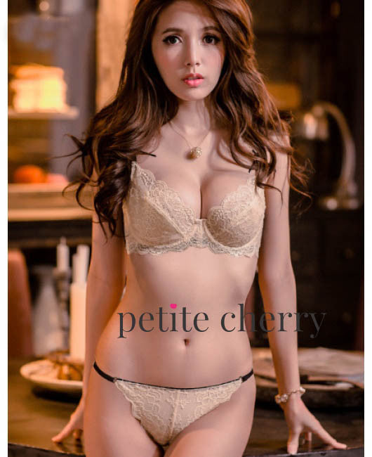 Amelie Lace Transparent Bra & Panty Set (Cream)