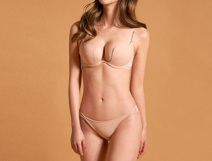 Angelite Plunge Multi-Way Seamless Push Up Bra (Nude)