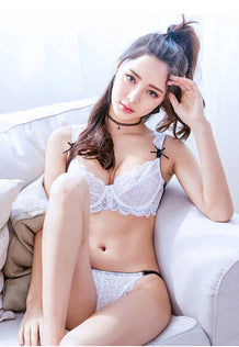 Amelie Lace Unlined Bra Set (White)
