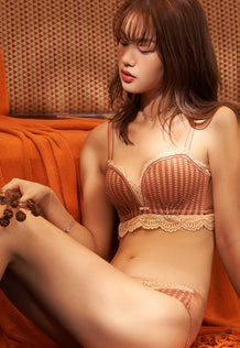 Autumn Balconette Push-Up Bra Set (Brown)