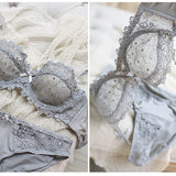 Vivienne Crocheted Lace Sheer Demi Bra Set (Dove Grey) - Petite Cherry