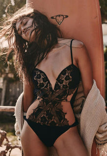 Black Swan Lace Bathing Suit Bodysuit