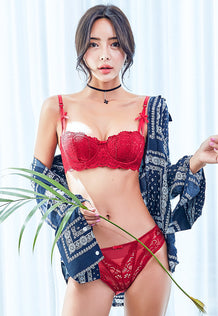 Bonnie Lace Balconette Bra Set (Red)