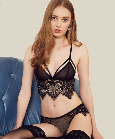 Breeze Transparent Mesh and Lace Bralette Set