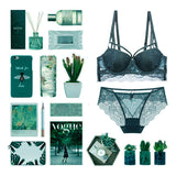 Carola Balconette Push-Up Bra Set (Green)