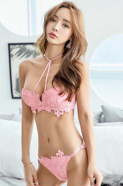 Calla Push-Up Bondage Bra Set (Coral)