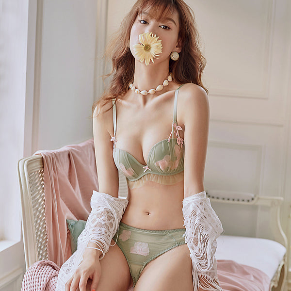 Henriette Balconette Padded Bra Set (Green)