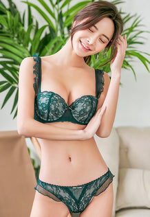 Jadah Demi Extreme Push-Up Bra Set (Green)