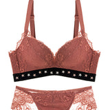 Janice Demi Push-Up Bra Set (Red)