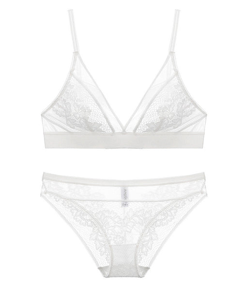 Kerry Unlined Bralette Set (White)