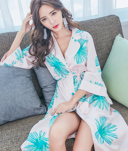 Tropical Printed Satin Robe - Petite Cherry