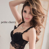 Cynthia Bustier Demi Lace Bra Set (Black) - Petite Cherry  - 4