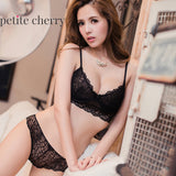 Ella Lace Unlined Longline Bralette & Panty Set (Black) - Petite Cherry  - 7