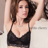 Ella Lace Unlined Longline Bralette & Panty Set (Black) - Petite Cherry  - 4
