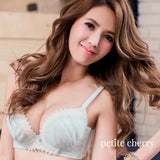 Tiara Chiffon Push Up Demi Bra (Blue) - Petite Cherry  - 3