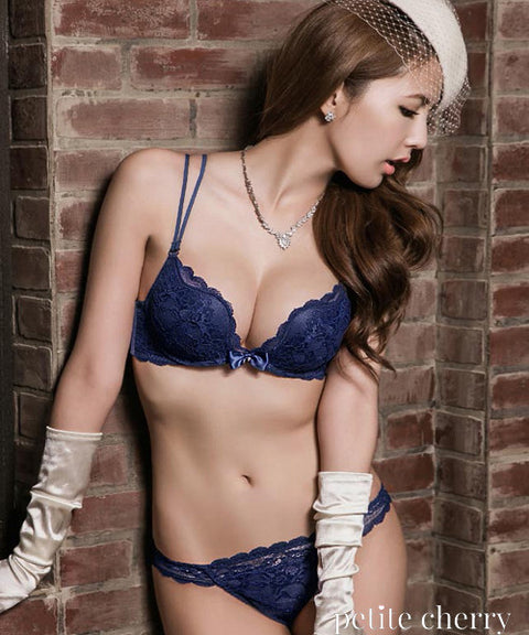 Nina Plunge Push-Up Multi-Way Bra Set (Navy) - Petite Cherry  - 1
