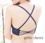 Maisie Crisscross-Back Push Up Bra Set (Navy) - Petite Cherry  - 5