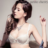 Ariel Unlined Sheer Underwire Demi Bra Set (White) - Petite Cherry  - 2