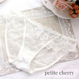 Ariel Unlined Sheer Underwire Demi Bra Set (White) - Petite Cherry  - 7