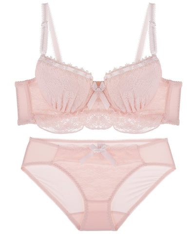 Jeanette Lace Ruffled Demi Bra Set (Pink)