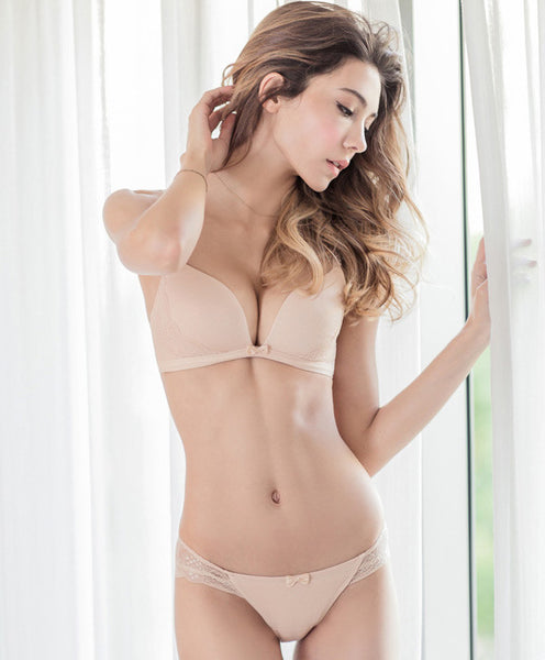 The World's Comfiest Wireless T-Shirt Bra Set (Nude) - Petite Cherry  - 1