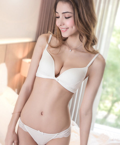 The World's Comfiest Wireless T-Shirt Bra Set (White) - Petite Cherry  - 1