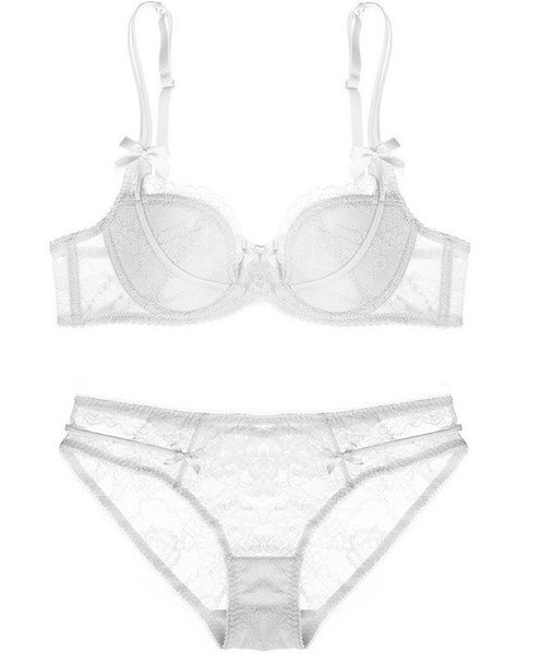 Hampton Lace Padded Bra Set (White) - Petite Cherry