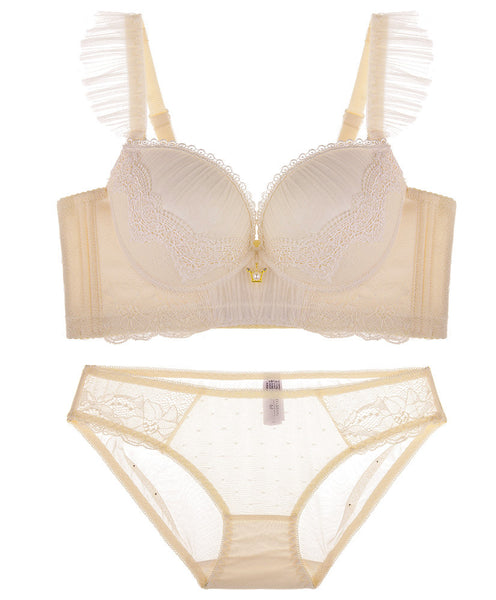 Paula Tulle Push-Up Demi Bra Set (Cream)