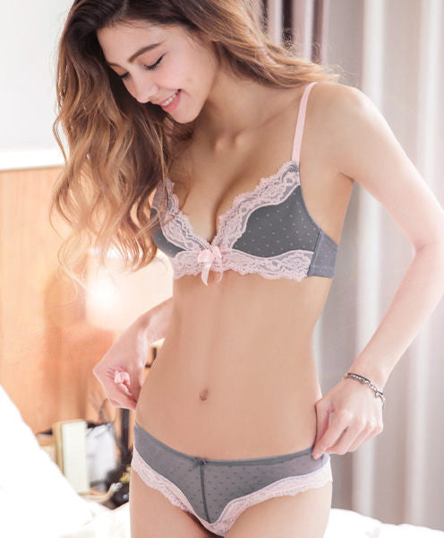 Stella Full-Coverage Comfort Bra Set (Grey) - Petite Cherry