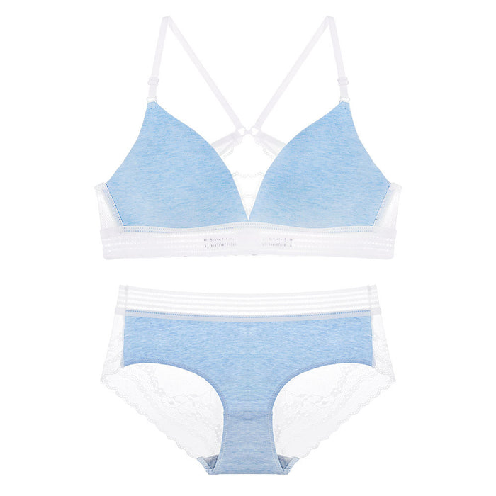Kylie Sporty Demi Bralette and Panty Set (Blue)