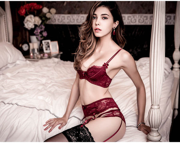 Hampton Lace Padded Bra Set (Red)