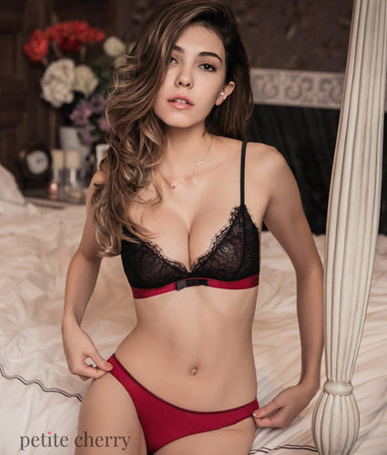 Kendra Eyelash Lace Bralette Set - Petite Cherry