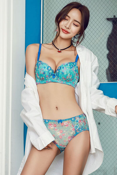 Peony Push-Up Underwire Bra Set (Blue)